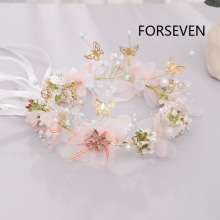 FORSEVEN Romantic Women's Fairy Hair Crowns Wreath Sweet Butterfly Flower Hairband Party Bridal Headband Jewelry Accessories JL