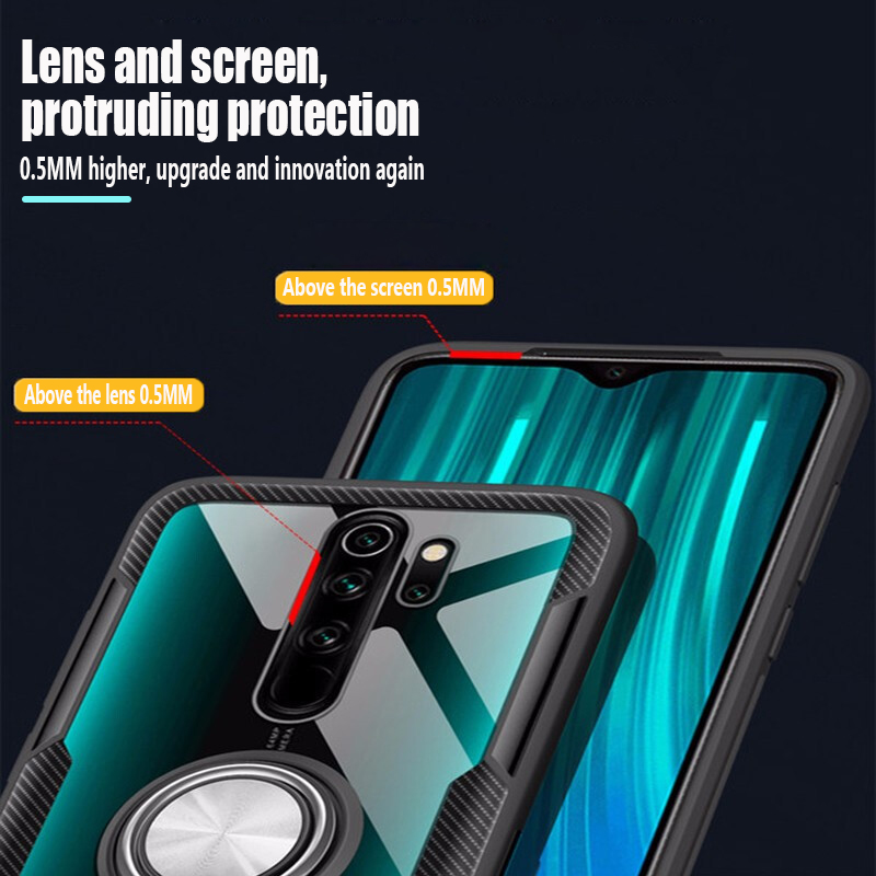 For Redmi Note 8 Pro Transparent Case Redmi Note 5 7 8 8T 10 Pro Silicone Armor Case with magnetic car ring luxury case covers