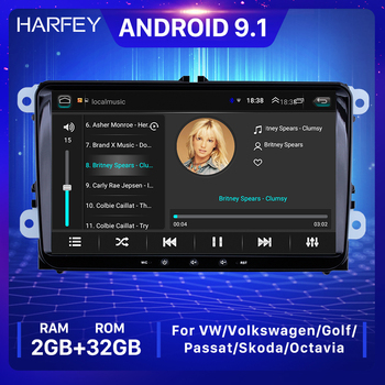 Harfey 2GB+32GB Universal Android 9.1 GPS Car Multimedia Player Auto Radio For Skoda/Seat/Volkswagen/VW/Passat b7/POLO/GOLF 5 6 image