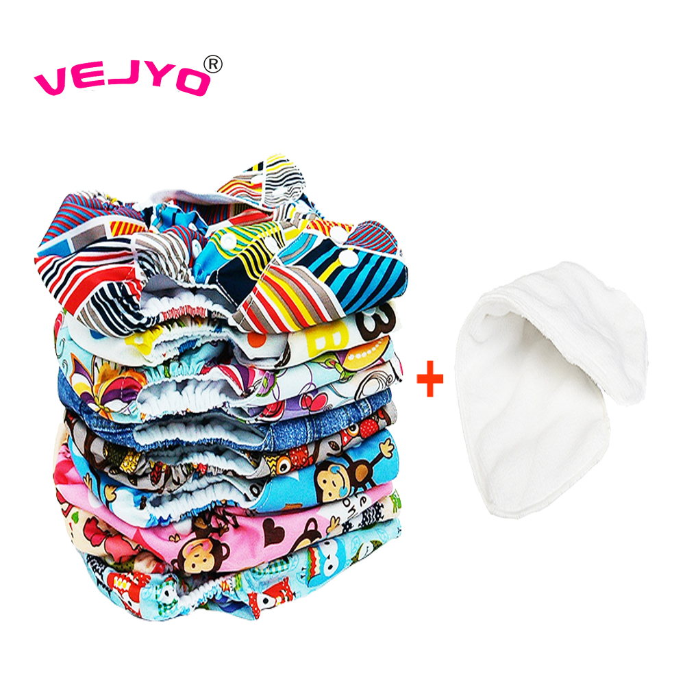 24pcs lot 12 Diapers 12 Inserts Baby Organic Diapers Reusable Baby Diaper Fashion Prints Fabric Nappy