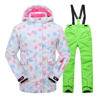 Children Clothing Set Girl Ski Suit Jacket Pant kids clothes Winter Warm Kids Snow Skiing Suit Windproof Removable Hood Outdoor