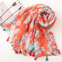 2019 Autumn Shaivering Floral Women Scarf Balinese Beach Style Blanket Scarf Voile Ladies Shawls Ponchos and Capes Hijab Scarf chic wall pattern voile scarf for women