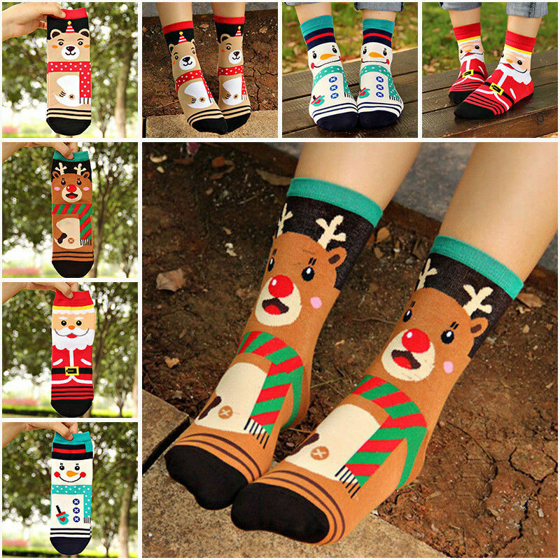 Christmas Socks Santa Cartoon Cute Claus Deer Xmas Kids Girl Boy Women Warm Funny Socks Gifts 2019