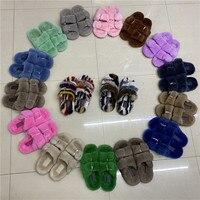 100% Mink Fur Slippers Real Fox Slippers Female Fur Slippers Rainbow Shoes Cute Fur Flip Flops Women Travel Fur Shoes