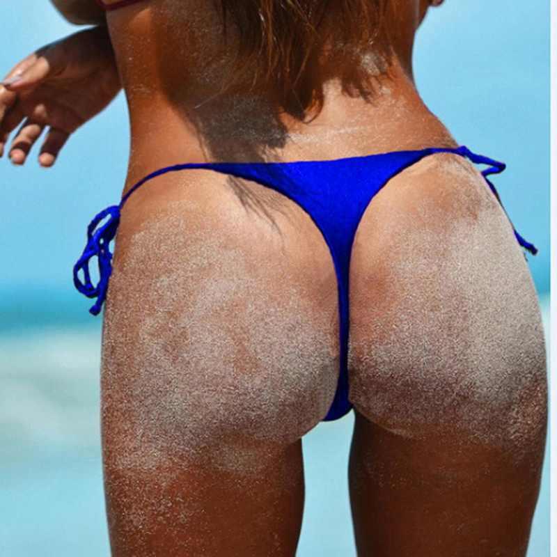 Wanita Kolam Celana Brasil Nakal Bikini Sisi Bawah Dasi Thong Baju Baju Renang Perban Dasi Sisi Beachwear Celana