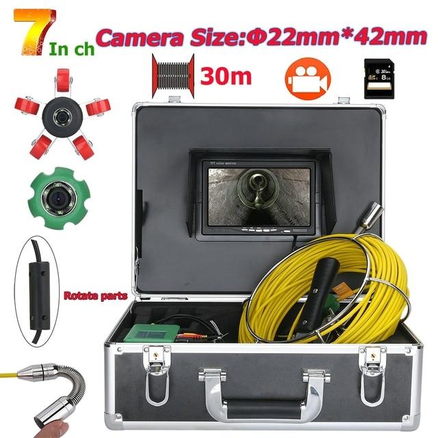 "GAMWATER 30/50M boru muayene Video kamera, 8GB TF kart DVR IP68 drenaj kanalizasyon boru hattı endüstriyel endoskop 7 ""monitör"