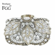 Boutique De FGG Vintage Silver Beaded Women Evening Bags Formal Wedding Dinner Party Beading Handbags Purses Bridal Clutch Bag