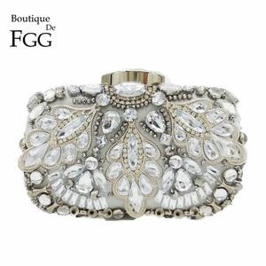 Image 1 - Boutique De FGG Vintage Silver Beaded Women Evening Bags Formal Wedding Dinner Party Beading Handbags Purses Bridal Clutch Bag