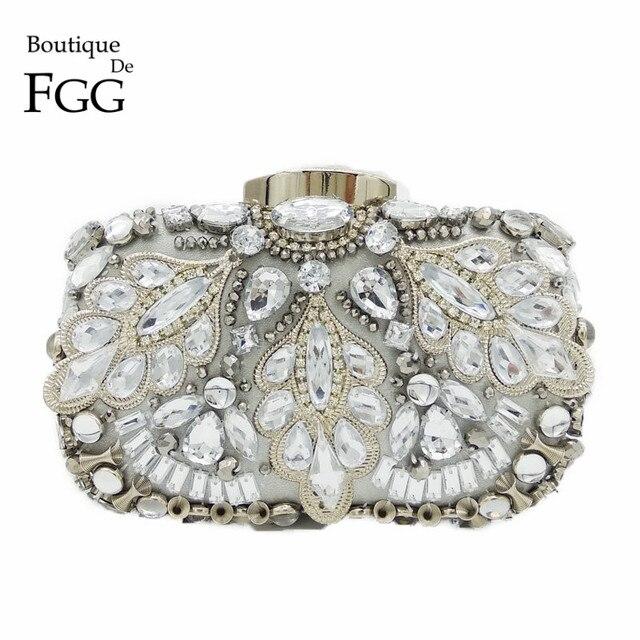 Boutique De FGG Vintage Silver Beaded Women Evening Bags Formal Wedding Dinner Party Beading Handbags Purses Bridal Clutch Bag