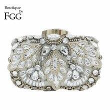 Butik De FGG Vintage gümüş boncuklu kadınlar akşam çanta resmi düğün yemeği parti boncuk çanta çantalar gelin el çantası