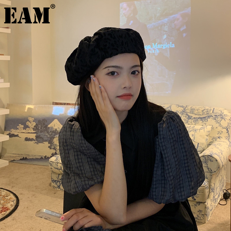 [EAM] Women Leopard Print Big Casual Fishermen Hat New Round Dome Temperament Fashion Tide All-match Spring Autumn 2021 1DE1313
