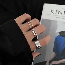 Hiphop masculino anel de metal geométrico punk anel conjunto de anéis de dedo redimensionável acessórios fivela conjunta cauda anéis de casamento para jóias femininas