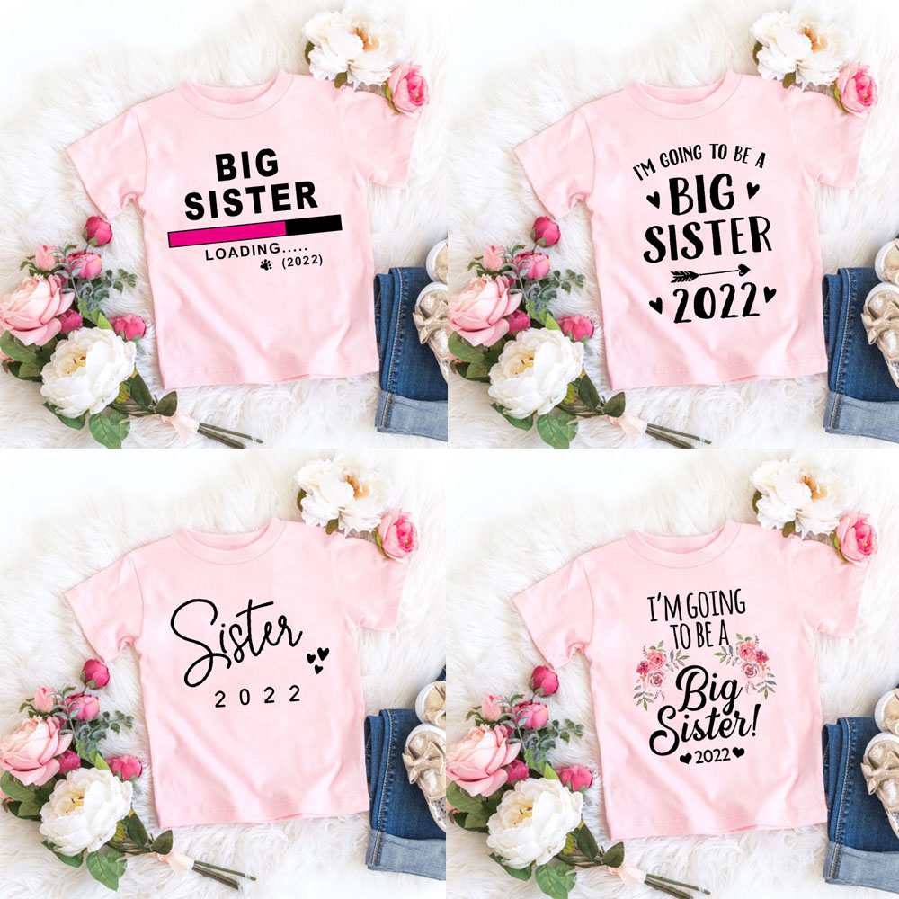 Kids Tshirt Summer Fashion Children Tshirt Short Sleeve White T Shirt Tops Promoted To Big Sister 2022 Letter Print Kids Clothes