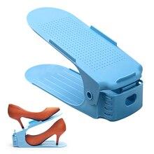 1 Uds. Zapatero ajustable organizador calzado soporte ranura ahorro de espacio gabinete soporte de armario estante de almacenamiento de doble capa Shoebox