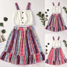 Girl's National Style Suspender Top Skirt Set Summer Daily Cute Vintage Sleeveless Floral Print Suit Kids Girls Outfits girls geometric print top with solid skirt