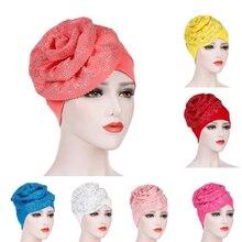1pc halteres hijab headwear perda de cabelo cachecol cristal turbante osso grande flor muculmano câncer quimio chapeu