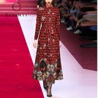 SEQINYY Long Dress Female 2020 Summer Spring New Fashion Design Women Red Vintage Flowers Print Belt Elegant A line Dress
