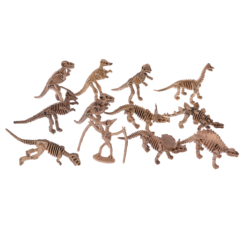 12pcs Dinosaur Skeleton Fossils Assorted Bones Figures Toys Kids Christmas Gift T3LA
