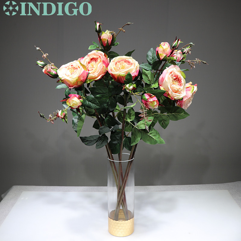 INDIGO 5pcs Pink Rose Spray Flower With Buds 1 flower 3buds Home Wedding Real Touch Flower Floral Event Party Free Shipping in Artificial Dried Flowers from Home Garden