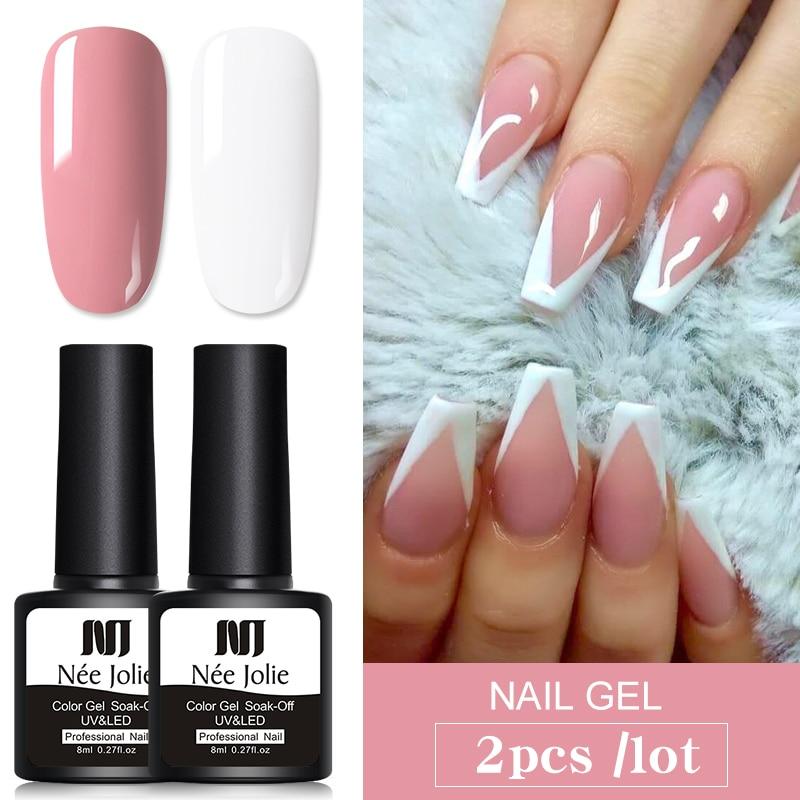 2 Bottles/set 8ml Nee Jolie UV Nail Gel Varnish Pure Pink Purple Mixed Colors Semi-permanent Soak Off Nail Art Gel Polish