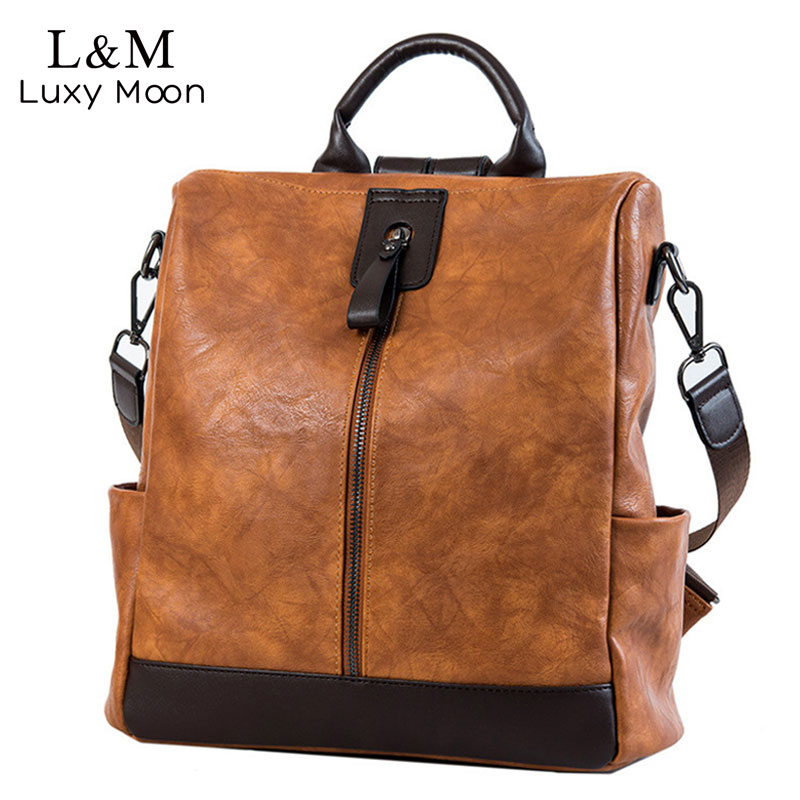 Fashion Women High Quality Leather Backpack Multifunction Backpack For Female Big Bookbag Anti Theft Travel Bag Sac A Dos XA279H-in Backpacks from Luggage & Bags