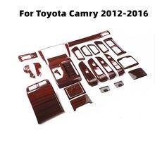 Decoración Interior de coche Toyota Camry, accesorios de grano de madera, Control Central, salida de aire, pegatina ABS, 2012, 2013, 2014, 2015, 2016