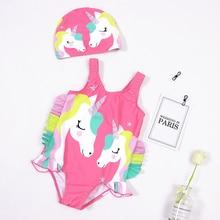 2020 Toddler Kids Baby Girls Cartoon Bikini Beach Summer Swimsuit Swimwear Bathing Suit Monokini Maillot De Bain Femme 6M-4Y