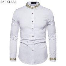골드 자수 셔츠 남성 2019 가을 스탠드 칼라 남성 드레스 셔츠 캐주얼 슬림 피트 롱 슬리브 chemise homme camisa masculina