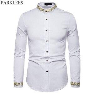 Image 1 - זהב רקמת חולצה גברים 2019 סתיו צווארון עומד חולצות גברים מקרית Slim Fit ארוך שרוול תחתונית Homme Camisa Masculina