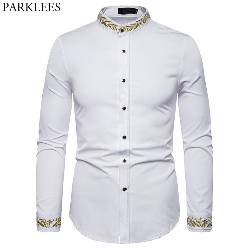 Gold Embroidery Shirt Men 2019 Autumn Stand Collar Mens Dress Shirts Casual Slim Fit Long Sleeve Chemise Homme Camisa Masculina