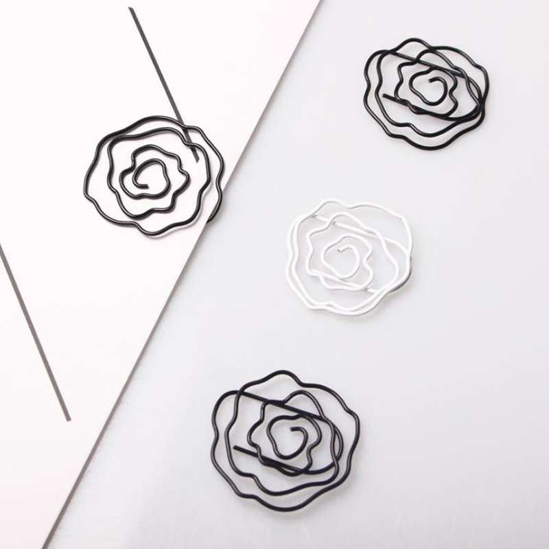 12 Pcs/pack Cute Mini Black White Rose Flower Shaped Metal Paper Clips Memo Photo Binder Clip Office School Supplies Stationery