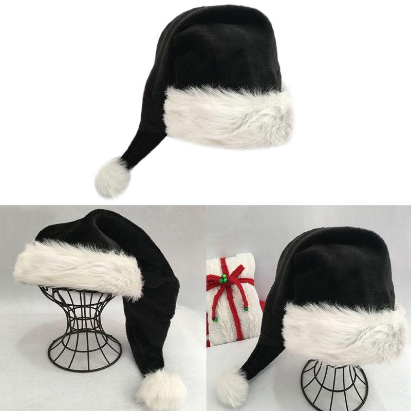 75cm Adult Black Thick Plush+Velvet Long Christmas Hat Xmas Costume Pompom Santa Claus Cap Winter Warm Hats Gift For Friends