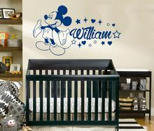 Mouse  Ears Vinyl wall Sticker Custom name Personalized decal mickey Nursery kids Room decor HJ1314