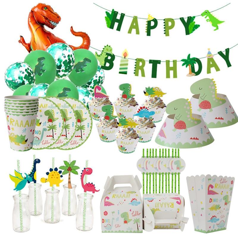 Dino fontes de festa de dinossauro balões palhas de papel descartáveis conjunto de utensílios de mesa crianças menino festa de aniversário decoração festa de selva