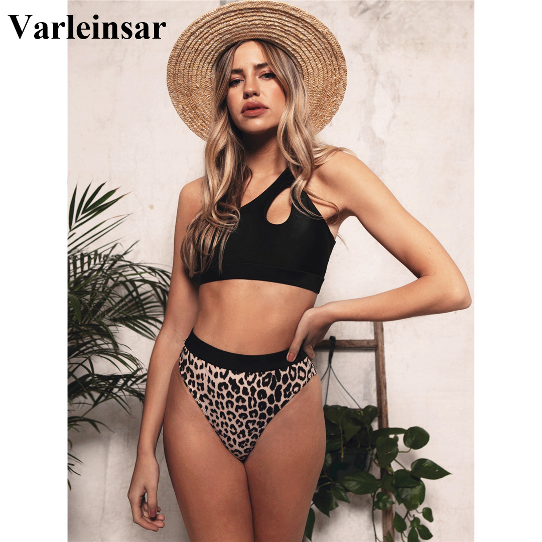 2020 NEW Sexy One Shoulder Bikini High Waist Swimsuit Women Swimwear Bikini set Leopard Bather Bathing Suit Swim Wear Lady V1846