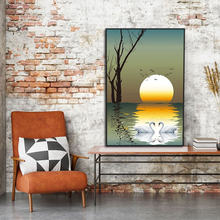 Минималистский nordic плакат закат Лебединое озеро пейзаж живопись