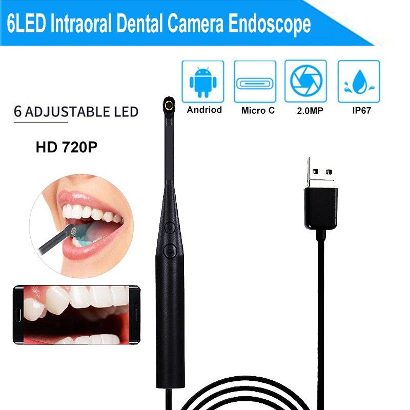 2MP 720P Intraoral Dental Camera Endoscope 6LED USB Micro-check Inspection Camera Oral Real-time Endoscopio