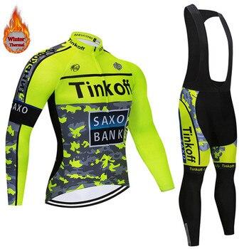 2019 invierno Saxo bank Tinkoff polar térmico Ciclismo Jersey Ropa Ciclismo MTB...