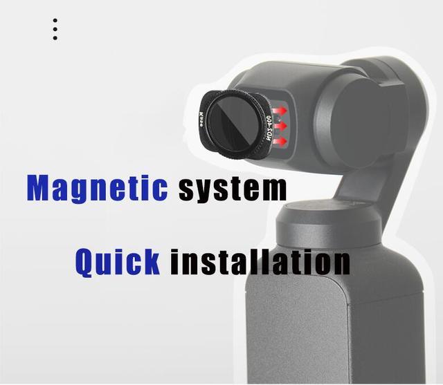 Kase Variable MC ND VND Neutral Density Filter ND2 400 Magnetic Design Optical Glass for DJI OSMO Pocket Handheld Camera