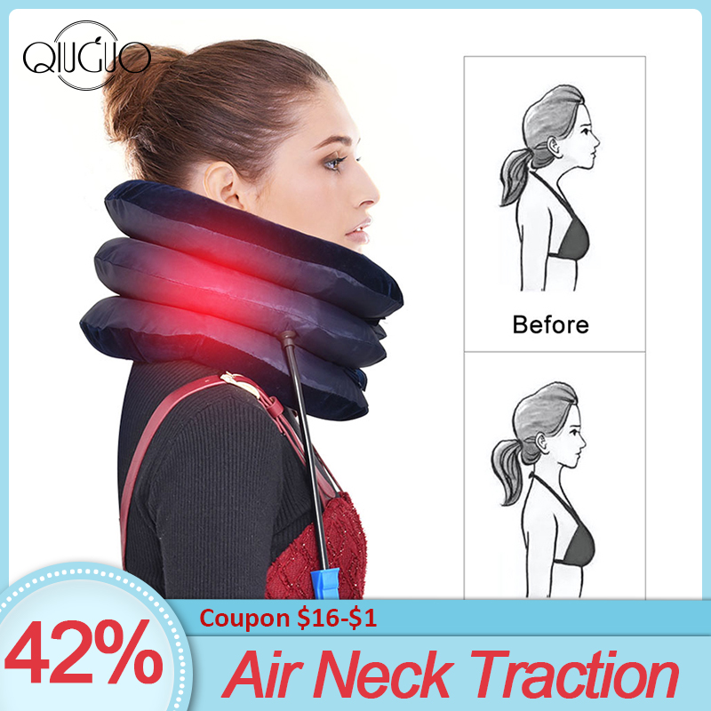 Air Neck Traction Stretcher Spine Cervical Tractor Neck Stretching Collar Relief Pain Inflatable Cervical Support Pillow(China)