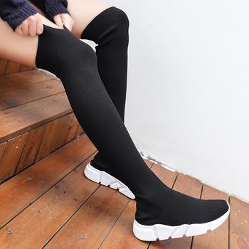 Kobieta buty długa rurka skarpetki buty 2020 nowa kobieta moda płaskie buty dla kobiet kosz zimowe buty buty damskie damskie trampki tanie i dobre opinie WIENJEE CN (pochodzenie) Cotton Fabric Over-the-knee Szycia Stałe women boots shoes Mieszkanie z Buty śniegu NONE Mesh (air mesh)