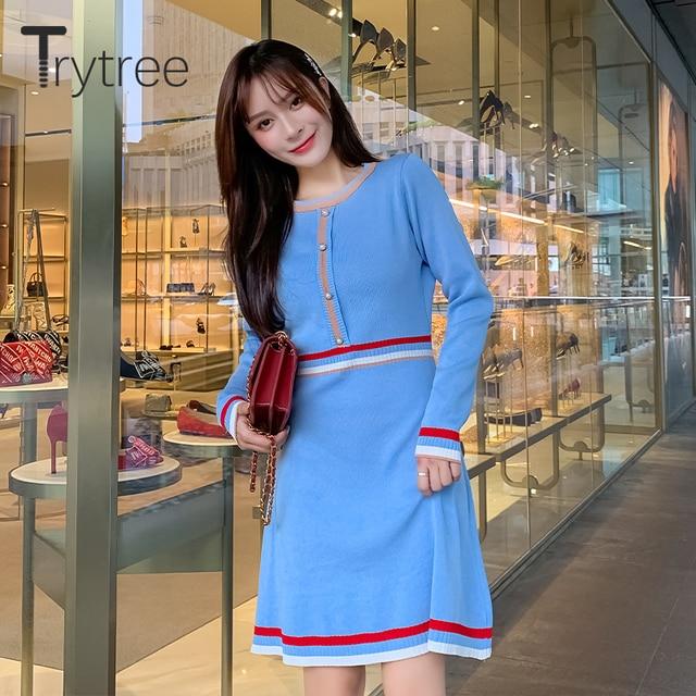 Trytree 2020 Autumn Winter Women Casual Dress O-neck Knitting Spliced Fashion Elegant Button A-line Mini Office Lady Dress 3
