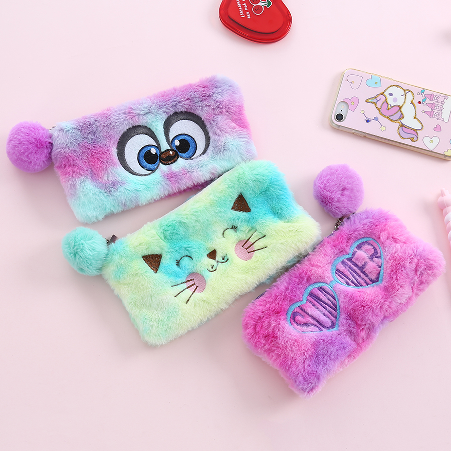Cartoon Embroidered Colorful Makeup Brush Bags Girl Travel Cosmetic Bag Student Pencil Case Pen Organizer Bag Fur Ball Decor