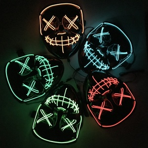 Halloween szkielet maska LED Glow straszna maska zapalić maski festiwal czaszka światło Cosplay prezent