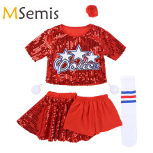 Crop-Top Hair-Clip Cheerleading-Costume Girls with Skirt Shorts Pom-Pom Finger-Rings