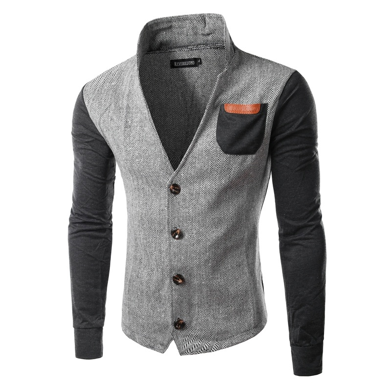 ZOGAA Men's Fashion Casual Stitching Collar Cardigan Sweater  Outwear Autumn Thin Jacket