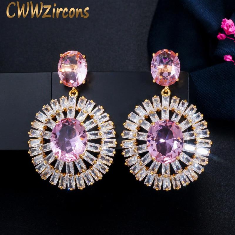 Hollow Waterdrop Pink Topaz Women Luxe Wedding Earrings 18K White Gold Filled