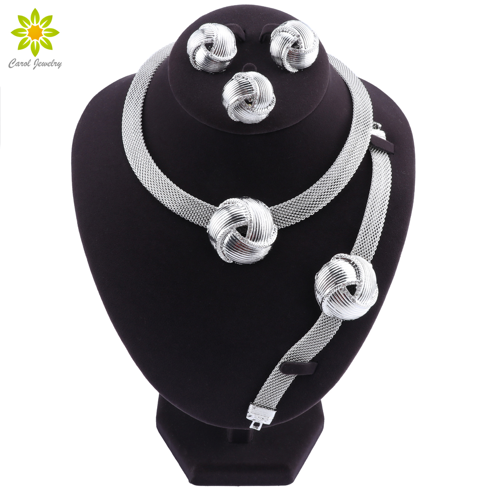 Exquisite Dubai Silver Plated Necklace Earrings Set Wedding Accessories Jewelry Set African Women Costume Jewelry Set