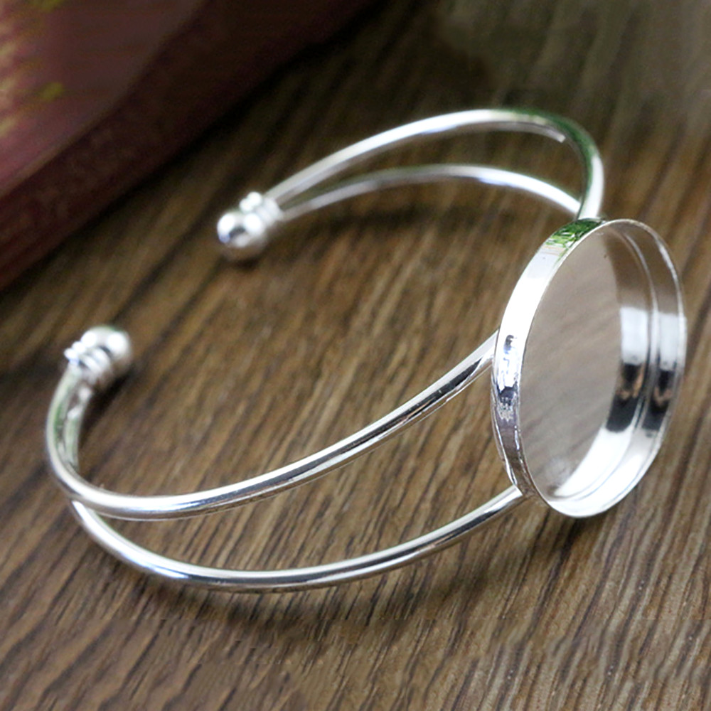 High Quality  25mm Silver Plated Bangle Base Bracelet Blank Findings Tray Bezel Setting Cabochon Cameo (L1-03)
