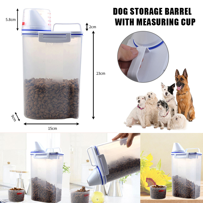 Newly Pet Food Storage Container Airtight Dog Cats Foods Container With Measuring Cup Clear 2.5L XSD88
